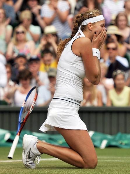 Czech player Petra Kvitova reacts after